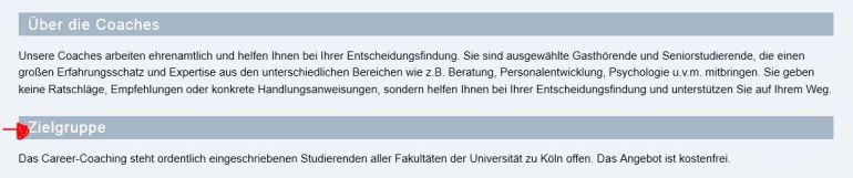 Quelle: Screenshot der Seite www.professionalcenter.uni-koeln.de/coaching