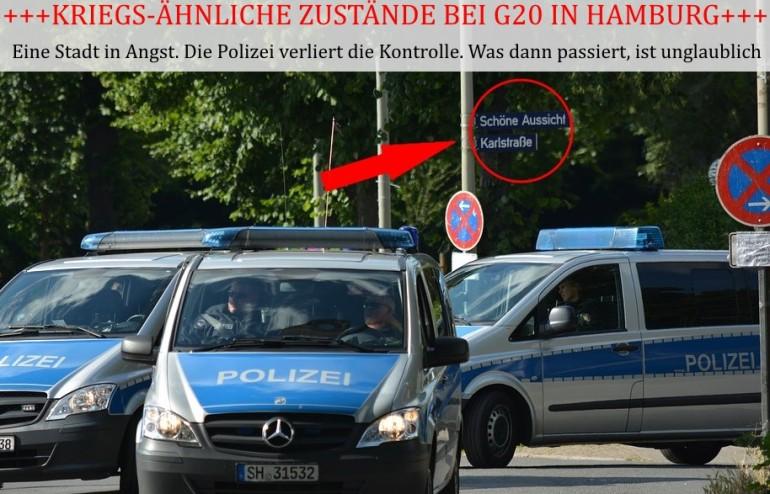 Polizeiwagen während G20 in Hamburg
